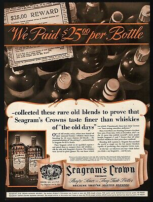 Vintage magazine ad SEAGRAMS CROWN BLENDED WHISKEY 1938 Five Crown Seven Crown