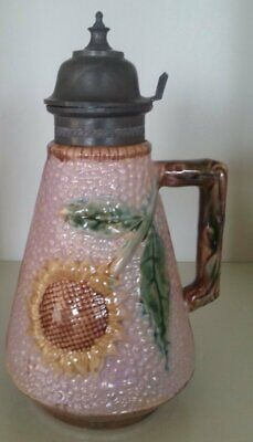 Pretty/Old Majolica ETRUSCAN Pink Sunflower Syrup, Excellent Color/Condition