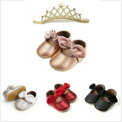 Baby Girl Sequins Bow-knot Shoes+1 PC Hairband Toddler First Walkers Kids Shoes