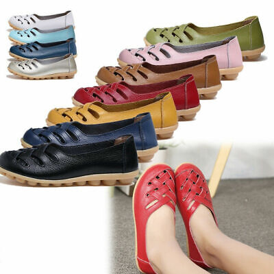 Women's Slip On PU Leather Casual Moccasins Comfort Driving Flat Loafers Shoes