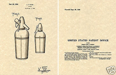 Vintage US Patent SODA SIPHON Art Print READY TO FRAME Seltzer Bottle