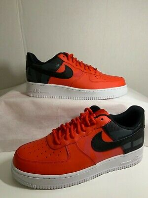 Nike Air Force 1 '07 Mens AV8363-600 Habanero Red Black Low Shoes Size 10-10.5