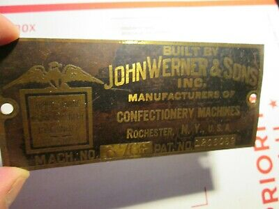 John Werner Old Beech Nut Lifesavers Candy Machinery # Eagle Nameplate w/Pat.No.