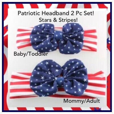 NIP 2 Pc SET USA Flag Stars Stripes Patriotic Bow Stretch Headband Mommy and Me