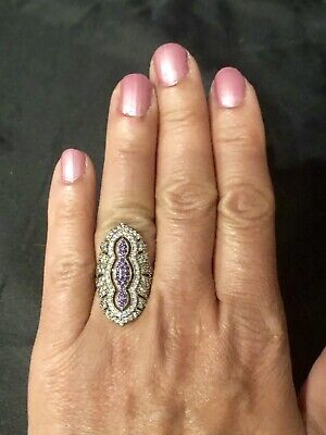 Antique Vintage Style Amethyst Topaz Rose Gold Over Silver & Bronze Ring Size 5