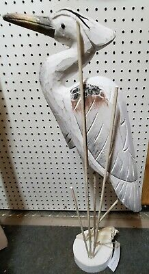 Hand Carved Wooden Antique Nautical Heron Shell on Base Tabletop Statue Figure