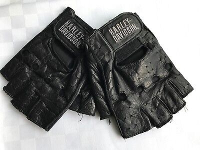 37dc0b4d57fde MOTORCYCLE GLOVES BIKE Motorbike Real Leather Black Fingerless Biker ...