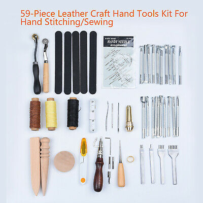 Carving Craft Tool Leather Stamping Groover Awl Thimble 59pcs Set Hand DIY