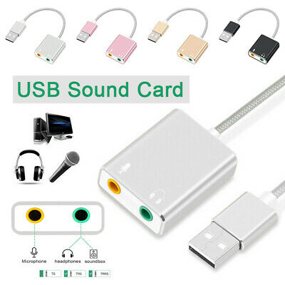 External USB 2.0 3D Virtual 7.1 Channel Audio Sound Card Adapter For PC Laptop