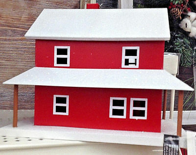 NWT! $40 Rustic MCM Red Metal Ranch Farm House Mini Village Home Decor Dads Gift