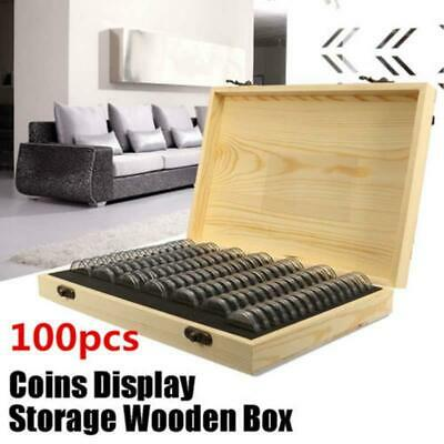 100Pcs Coins Show Display Storage Box For Slab Certified Coin + Wooden Wood Case