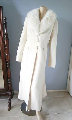 Vintage Womens 30s 40s Style Ivory White Wool Full Length Coat Faux Fur Collar!