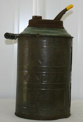 Vintage Dandy Gas / Oil / Kerosene Glass lined metal 1 gallon can w/ spout