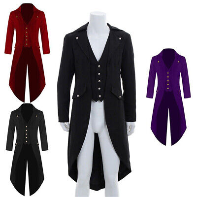 Gothic Victorian Retro Men Swalow Tail Coat Steampunk Tailcoat Jacket Ringmaster