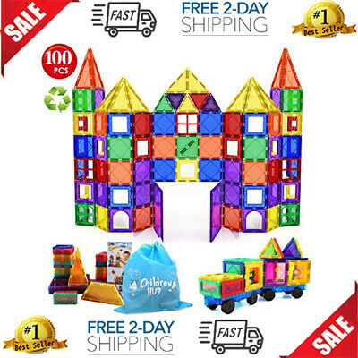 Magna Tiles Clear Colors 100 Pcs 3D Set Magnetic Building Toy smarter 3+kids