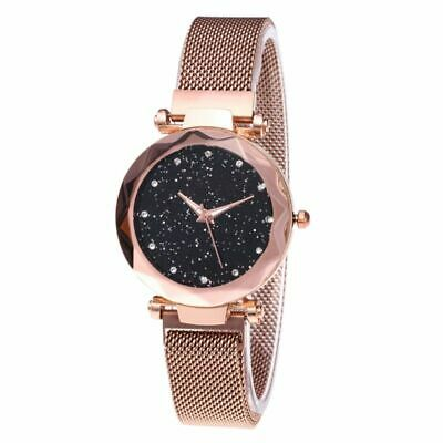 US Women Lady Starry Sky Diamond Watch Magnet Stainless Steel Strap Band