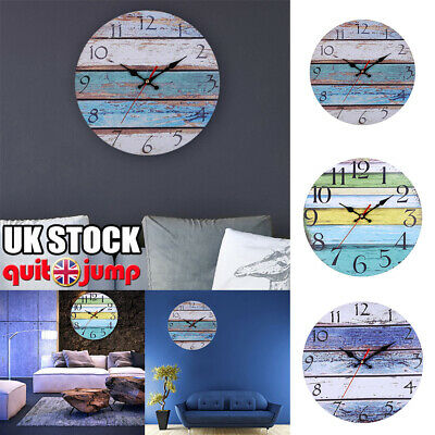 Vintage Wooden Wall Clock Shabby Rustic Country Home Kitchen Room Decor Watch UK