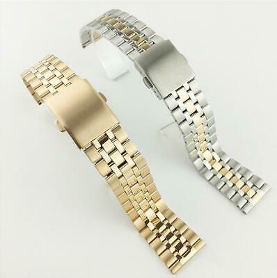 Women Thin Curved Stainless Steel Polished Clasp Replacement Watch Band Strap