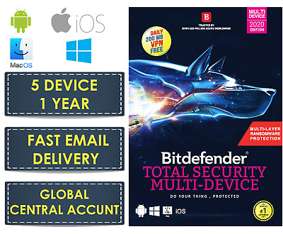 Bitdefender Total Security 2020 - 5 Device 1 Year (Central Account - Email)