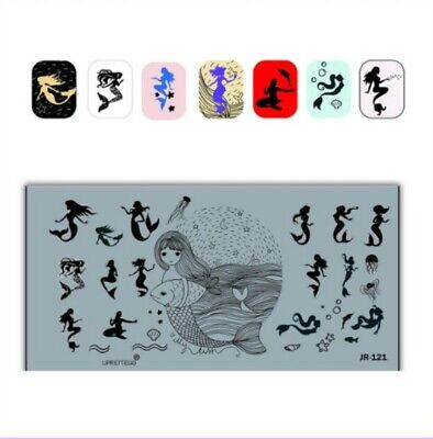 Stainless Steel DIY Stamping Plates Nail Art Template Mermaid Image Stencil