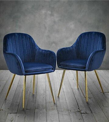 Admirable Set Of 2 Mara Chairs Blue Velvet Dining Chairs With Gold Dailytribune Chair Design For Home Dailytribuneorg
