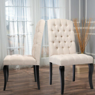 2x Linen Fabric Dining Chairs Chesterfield Buttoned High Back Dining Room Chair