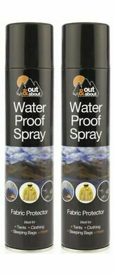 2 X 300ml WaterProof Spray Protector Waterproofing Fabric Shoes Tents Cloth Camp