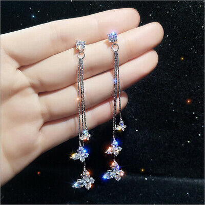 Sapphire Gorgeous Earrings Shiny Jewelry Long Wedding White Silver Butterfly