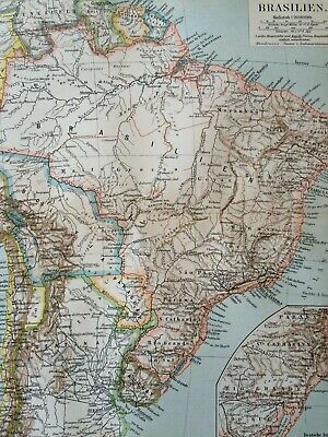 1897 Brazil Original Antique Map - Mounted and Matted - South America