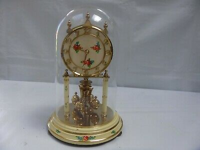Vintage Kieninger Obergfell Anniversary Dome Wind Up Torsion Clock Roses Germany