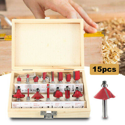 15pc Router Bit Set Kit 1/4'' Shank Tungsten Carbide Rotary Tool Wood Case Box W