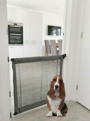 Bettacare Secure Fabric Dog Gate Grey Denim Mesh Extending Pet Gate