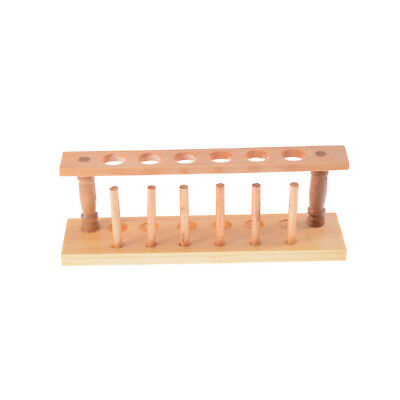 6 Holes Lab Wooden Test Tube Storage Holder Bracket Rack With Stand Sticks LE