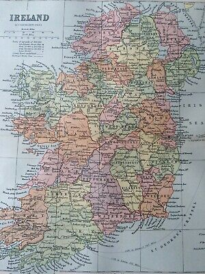 1905 Ireland Original Antique Map Mounted and Matted Vintage Old Map