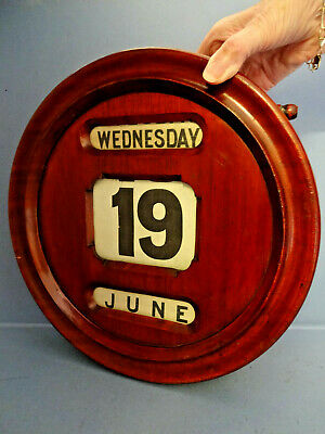 ANTIQUE MAHOGANY LATE VICTORIAN WALL MOUNTED PERPETUAL CALENDER, c 1890-1910