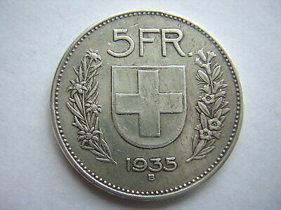 1935 5 Franc Swiss Silver Coin