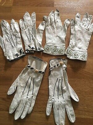 3 Pairs x Vintage Ladies Cream Leather Embroidered Gloves Small Sizes inc. Dents