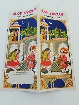 Antique Air India Route Map September 1962 Boeing Rr 707 Airlines Brochure.