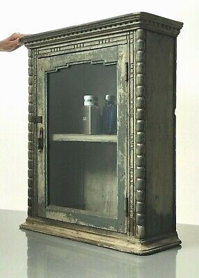 Antique Vintage Indian Art Deco Display Bathroom Cabinet. Grey Cappuccino Large