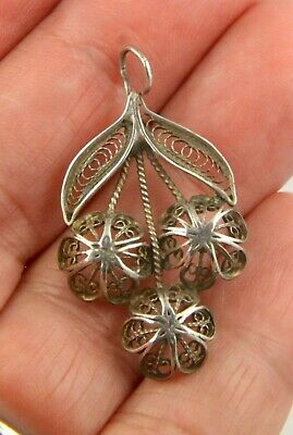 Antique Victorian Edwardian c1900 sterling silver filagree pendant