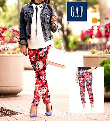 GAP NWT Sz. 2 Women's RED FLORAL Pattern Stretch Slim City Cropped Ankle Pants