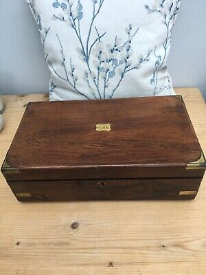 Vintage World War I Period 1917 Mahogany (?) Writing Slope In Need of Renovation