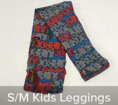 New LulaRoe Leggings Child Kids Size S/M Red Blue Bird Wings Logo