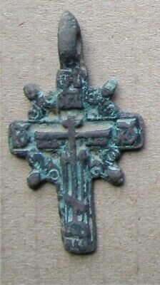 Russian Empire ancient orthodox bronze icon cross 1700-1800s original #32