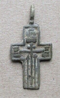 Russian Empire ancient orthodox bronze icon cross 1700-1800s original #11