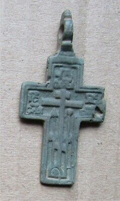 Russian Empire ancient orthodox bronze icon cross 1700-1800s original #25