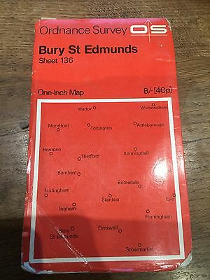 "1960s Old Vintage OS Ordnance Survey 1"" Map Sheet 136 Bury St Edmunds"