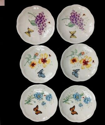 """Lenox Butterfly Meadow Party Plates 6"""" New Boxed Set Of 6 Freezer Oven Microwave"""