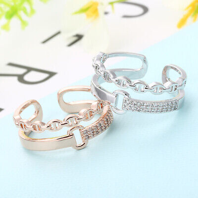 Woman new two-layer open mouth joint ring simple female ring fashion jewelry