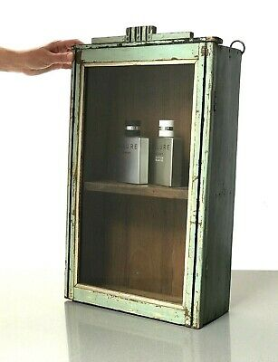 Antique Vintage Indian Art Deco Display Bathroom Cabinet. Duck Egg Blue, Teal.